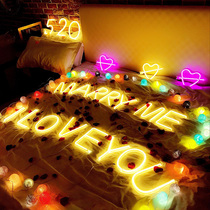 ins alphanumeric neon surprise Red marriage proposal creative supplies layout scene birthday decoration star lights