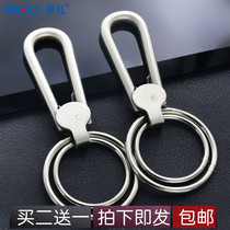 Creative handmade quality 304 stainless steel keychain polishing car Men's waist hanging remote key ring pendant