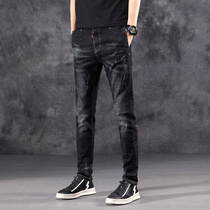 Korean version of the trend of casual stretch summer thin mens jeans slim straight feet pants black wild trousers