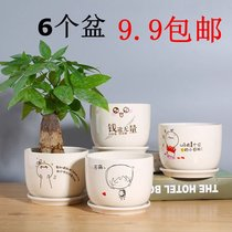 Fleshy pots ceramic tray indoor simple green Rose large multi-green white porcelain basin succulents flower pots