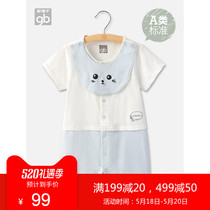 Good boy 2019 summer infants short-sleeved jumpsuit men and women baby out of the romper with bib