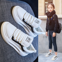 Girls shoes 2019 autumn and Winter new fashion small white shoes children's sports shoes net red white board shoes spring children's shoes