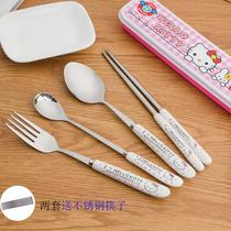 Cute portable tableware three-piece student tableware set stainless steel chopsticks cartoon children Spoon Fork adult box