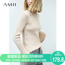 Amii minimalist foreign gas skinny nail bead Sweater woman 2019 Spring new long-sleeved bottom knitted shirt top