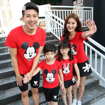 Summer New Mickey printing a family of three parents loaded the whole family short-sleeved T-shirt mens suit lovers tide