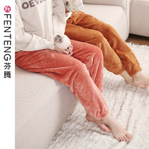 Fen Teng autumn and winter coral velvet pajamas female fairy warm pants thick warm loose trousers flannel home pants
