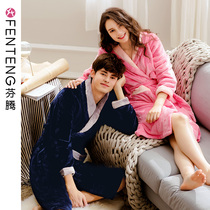 Finns new thickened flannel couple pajamas female autumn and winter mens coral velvet robe Home Dress bathrobe