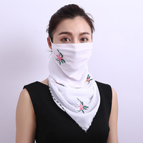 Summer dual-use Variety small scarf thin scarf hanging ear neck mask sunscreen veil triangular collar one