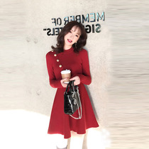 2019 autumn womens new waist was thin temperament slim retro Hepburn Wind red knit dress