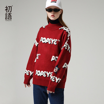 First language fall 2019 new Popeye IP Series embroidery cartoon loose long-sleeved pullover women