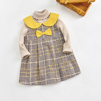 Children's vest skirt doll collar lattice autumn and winter tie ENE bear Princess Ocean style 2019 new girls dress