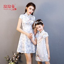 Chinese style parent-child mother and daughter cheongsam modified version of the childrens hanfu summer baotang sets of new Western-style dress net red