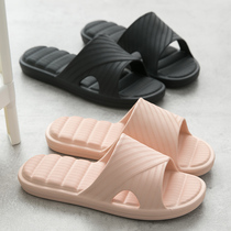 Slippers female home with indoor home thick bottom mute word drag non-slip couple bathroom bath deodorant cool slippers summer