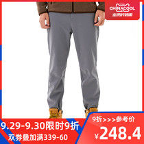 kroceus Earth scientists autumn and winter models outdoor men's casual pants elastic warm sweat pants soft shell pants