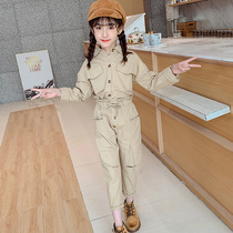 Girls autumn new suit 2019 Korean casual big boy hole overalls two-piece loose fashion tide