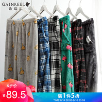 Gorrell sweet fashion couple flannel pajamas men and women warm can wear home pants 19051HHH