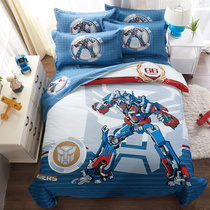 Boys cartoon four sets of Transformers Optimus Prime Superman cotton quilt bed linen bedding student children