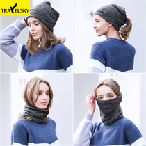 Windproof warm outdoor sports turban riding ski thickening cold collar collar sets running hat men and women headdress