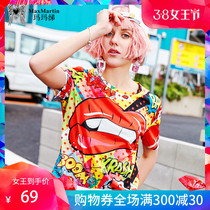 Marma Betty 2019 Summer new personality print strange girl blouse Harajuku style loose ins short-sleeved T-shirt girl