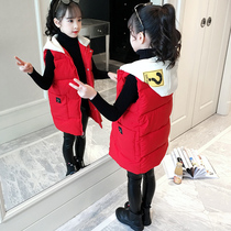 Girls vest winter wear 2019 new foreign gas thickening children's clothing in the long section of children's cotton vest tide