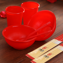 Philippine Red Bowl red cup disposable bowl chopsticks wedding wedding props wedding supplies plastic bowl red spoon