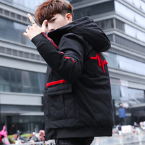 2018 New winter Coat mens Korean version hooded cotton fashion trendy winter clothes handsome cotton jacket thickened down cotton suit