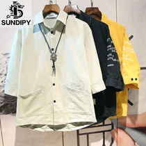 sundipy loose mens cotton 5-point sleeve shirt trendy Hong Kong style ins fashion letters short-sleeved summer shirt