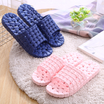 New indoor non-slip bathroom bath leaking soft bottom Home shoes ladies summer massage Home couple cool slippers