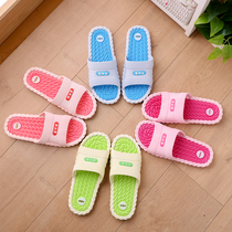 Summer slippers female summer home indoor non-slip soft bottom couple bathroom bath home a word cool slippers male