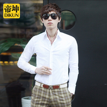 Shirt mens long-sleeved Groom Groomsmen dress Tide men dress Korean slim business casual shirt white trend