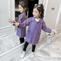 Girls autumn and winter 2019 new large children double-sided woolen coat Korean version of the children's long woolen jacket