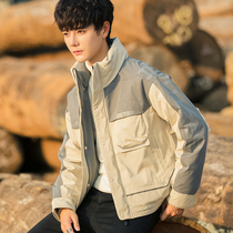 2019 Winter new Korean trend stand collar short handsome down jacket male clothing student stitching couple coat