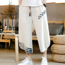 Chinese wind pants mens summer loose casual pants linen shorts large size wide leg pants tide harem pants thin section