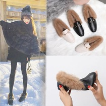 Plush shoes womens shoes autumn and winter rabbit fur cotton shoes warm plus velvet small shoes flat British scoop shoes Korean peas shoes