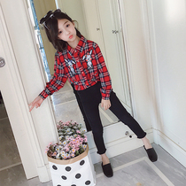 Children's clothing girls shirt plaid children shirt long-sleeved cotton 2019 New Yangyang Korean version of the small in the Big child shirt