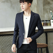 Mens suit 2019 casual male handsome jacket slim stripes spring Korean trend shirt single small suit