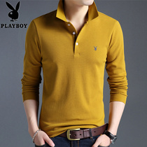 Playboy long-sleeved T-shirt mens cotton shirt autumn and winter Korean version solid color POLO shirt mens pile thickened T-shirt