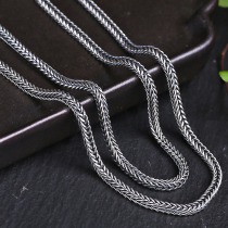 Angel's wish 925 silver jewelry retro Thai silver necklace male Korean version of simple students Tide men's personality