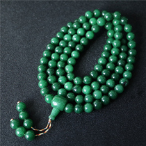 Tibetan natural green agate beads bracelet necklace Emerald Emerald natural Agate men and women hand necklace