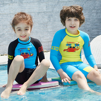 2190abd343d Children's split swimsuit girl cute princess long sleeve sunscreen boy swimsuit  bathing suit children baby swimming