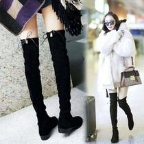Yangs same knee boots female winter round head increased show tall and thin tube elastic boots flat bottom long boots female