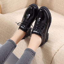 2019 bright small shoes Four Seasons new Korean version of the shoes with the thick with the thick bottom loose cake casual flat shoes women