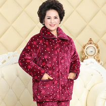 Winter pajamas ladies thick warm suit flannel padded home wear middle-aged and elderly mother-in-law mother-in-law cotton jacket