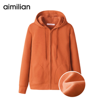 Hooded guard woman plus velvet plus thick top autumn winter 2019 new loose zip-up cardigan casual sports jacket
