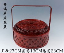 Retro style bamboo woven wood wedding ancient food box basket multi-layer portable Chinese wedding special large-capacity home