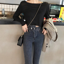 Net red with the paragraph high waist pants female skinny jeans 2019 spring new Korean version of the tide pencil pants