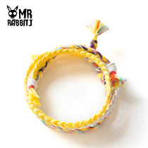 Handmade custom Korean version of pure hand-woven wishing jewelry three wishes hand rope bracelet wisdom hope pure