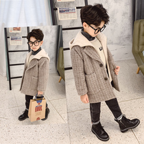 Children's clothing boys hooded woolen coat autumn and winter 2019 new large children's woolen jacket long section of foreign