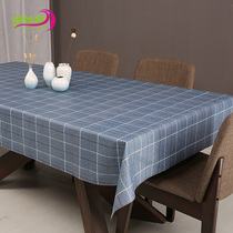 New idyllic table cloth waterproof anti-oil anti-ironing lattice tablecloth PVC plastic tablecloth Gabe Rectangular coffee table