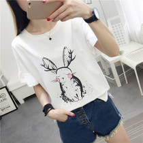 Short-sleeved T-shirt womens 2019 summer new Korean version of the white students loose bottoming shirt ins half-sleeved shirt
